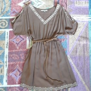 Papaya Taupe Colored Cold Shoulder Mini Dress